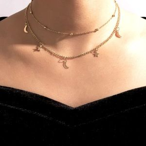 Gold Layered Star and Moon Necklace